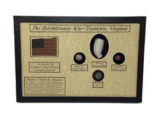 Revolutionary War Bullet, Button, Clay Pipe & Marble in Display Case with COA