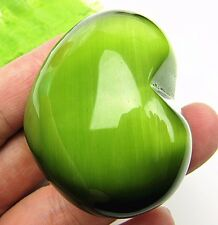 Beautiful unique olive green cat eye gemstone carved heart CAB cabochon Vk530