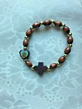 """OUR LADY of GUADALUPE WOOD DECADE ROSARY BRACELET"" Fits all size wrists NEW"