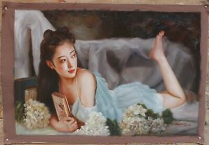 """Art sale beauty young girl lady at home original oil painting on canvas 24""""x36"""""""