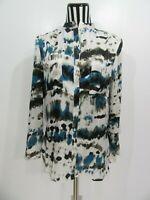 Ariella Button Down Long Sleeve Blue Multi Color Shirt Top Size M