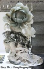 Chinese Art Sculpture Natural Dushan Jade Lotus Leaf Red-crowned Crane Statue