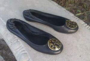 Tory Burch Black Leather Ballet Flats Shoes Size 8.5M