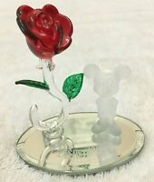 Disney Mickey Mouse and Glass Rose on Mirror Base