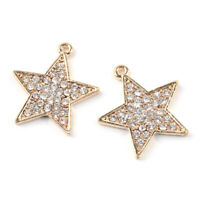 10pcs Light Gold Alloy Rhinestone Star Pendants Dangle Mini Charms Craft 26x24mm
