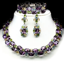 SET! NATURAL! PURPLE AMETHYST, CITRINE, TOPAZ & PERIDOT 925 STERLING SILVER