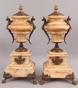 Pair Antique 19thC Gothic Bronze & Agate Mantle Clock Urns NO RESERVE