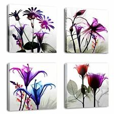 Framed Nature Modern Wall Art Prints Canvas Picture Home Decor-Purple Flowers