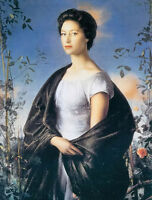 Perfect Oil painting pietro annigoni - Noble lady Princess Margaret on canvas