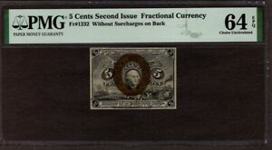 5 Cents 2nd Issue Fractional Currency, Fr1232, PMG 64 EPQ, NICE!!