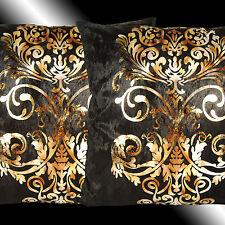 "2X LUXURY SHINY BLACK GOLD DAMASK VELVET THROW PILLOW CASES CUSHION COVERS 17"""