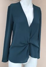 Topshop Tuck Drape Blouse Size 6 Knot Wrap Top Teal Blue Green Blogger V-neck