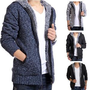 Mens Winter Fur Wool Hoodies Jacket Hooded Coat Lining Cardigan Warm Knitted