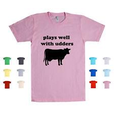 Plays Well With Udders Cows Dairy Farm Mammals Puns Fresh Milk Unisex T Shirt