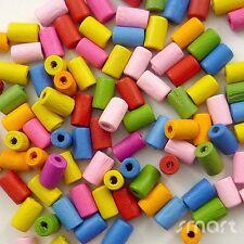 100pcs Mixed Colors Cyclinder Wood Beads Lot Craft/Kids Jewelry Making 10x6MM