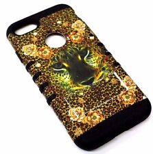 for iPhone 7 Leopard Flower Orange Hard Soft Hybrid Rubber Protector Case Cover