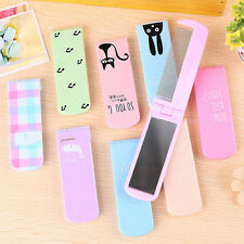Portable Foldable Hair Brush Mirror Compact Pocket Size Comb Makeup Mirror Gift