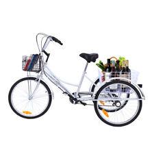 """Silber 24 """"Dreirad Bike 3 Räder Fahrrad 6 Gänge mit 2 Körben Shopping Tricycle"""