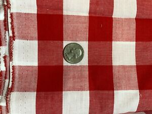 """1"""" red white woven gingham cotton fabric 44"""" w by the yard"""