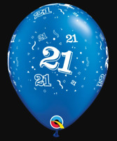 21st Birthday Party Supplies - Qualatex 28cm Pearl Blue Latex Balloons (Pk.10)