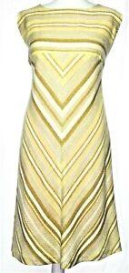 1970's Vintage Retro Style Chevron Yellow Beige Shift Dress Plus Size UK 16