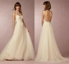 Straps Simple Beach Wedding Dress Lace Backless Bridal Gown Custom 6 8 10 12 14+