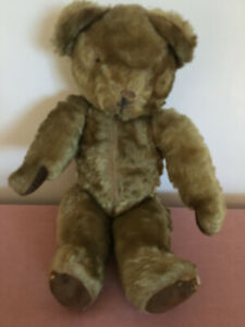 """Poor Old Vintage Teddy Bear. No Eyes 17""""  Jointed Limbs/Head Stitched Mouth."""