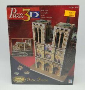 Puzz 3D Notre Dame Cathedral 366 Pcs Advanced Puzzle Milton Bradley 2005 Sealed!