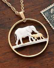 "Elephant Pendant & Necklace, Malawi Coin hand Cut, 1-1/8"" in Diameter ( # 232 )"