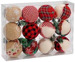 "Set of 12 Natural Jute Christmas Baubles Ball Ornaments 3.2"" X-Mas Decoration"
