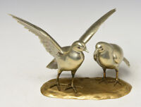 Early 20th Century, Showa, A Pair of Rare Japanese Bronze Okimono Birds