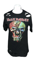 IRON MAIDEN Men's T Shirt Black Small Eddie Ripped Short Sleeve 100% Cotton