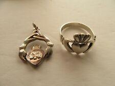 Vintage Irish Sterling Silver Rotating Claddagh Pendant & JC Walsh Ring (S:8.5)