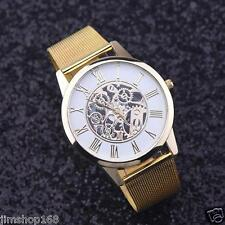 Mens Watches Luxury Skeleton Hollow Stainless Steel Date Quartz Wrist Watch Gold