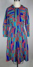 Vintage 1960s Neon Bright Flower Power Dress Boho Hippie Brady Bunch MOD barkclo