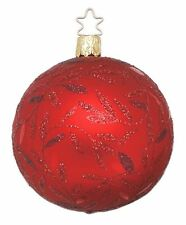 """""""Delights Red Matte"""" 8cm Ball Glass Ornament w/ box by Inge Glas Germany (#311)"""