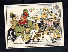 Mint WW2 England Anti Nazi Propaganda Postcard Germans Run Off by Resistance
