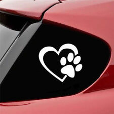 Paw in Heart Dog Lovers Vinyl Drift Decal Car Window Sticker White
