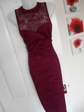 **STUNNING** LIPSY LONDON SIZE 10 BERRY LACE FRONT WIGGLE DRESS *FAST POSTAGE**