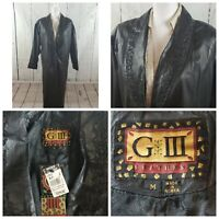 """NWT $299 """"G III"""" Women's Black Leather Button Front Jacket Size M Full Length"""