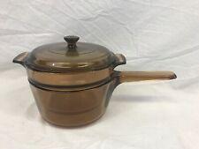 Corning Visions Ware 1.5 Liter Amber Brown Glass Sauce Pan Pot Cookware