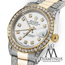Ladies 26mm Rolex Oyster Perpetual Datejust Custom set Diamonds White Color Dial
