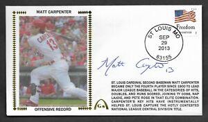 Matt Carpenter Autographed Offense Records Gateway Stamp Cachet STL Postmark