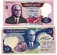LOT SET SERIE 2 Billets Tunisie TUNISIA  5 & 10 DINARS 1983 P79 & P80 BOURGUIBA