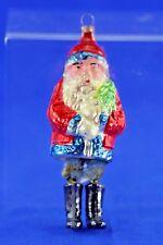 VINTAGE MERCURY GLASS SANTA CLAUS CHENILLE LEGS CHRISTMAS ORNAMENT
