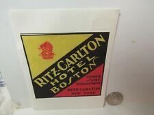 Vtg. Ritz - Carlton Hotel Boston Massachusetts Luggage Sticker