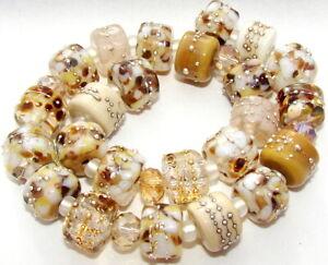 "Sistersbeads ""K-Linen"" Handmade Lampwork Beads"