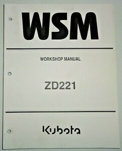 Kubota ZD221 Zero Turn Mower Tractor Service Shop Repair Workshop Manual OEM!