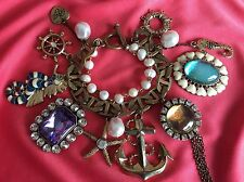 Betsey Johnson Vintage Nautical Anchor Sailor Seahorse Pearl HUGE Charm Bracelet