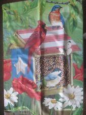 CLOTH GARDEN DECOR FLAG BIRDS AT THE FEEDER CARDINALS AND BLUE BIRDS